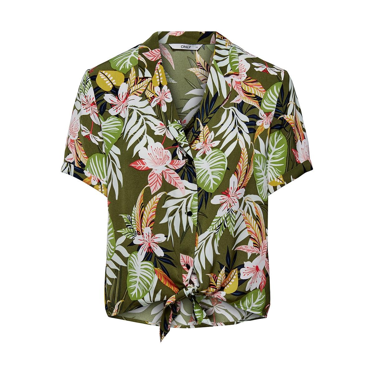 Рубашка LaRedoute Короткая с завязками тропическим принтом 34 (FR) - 40 (RUS) зеленый