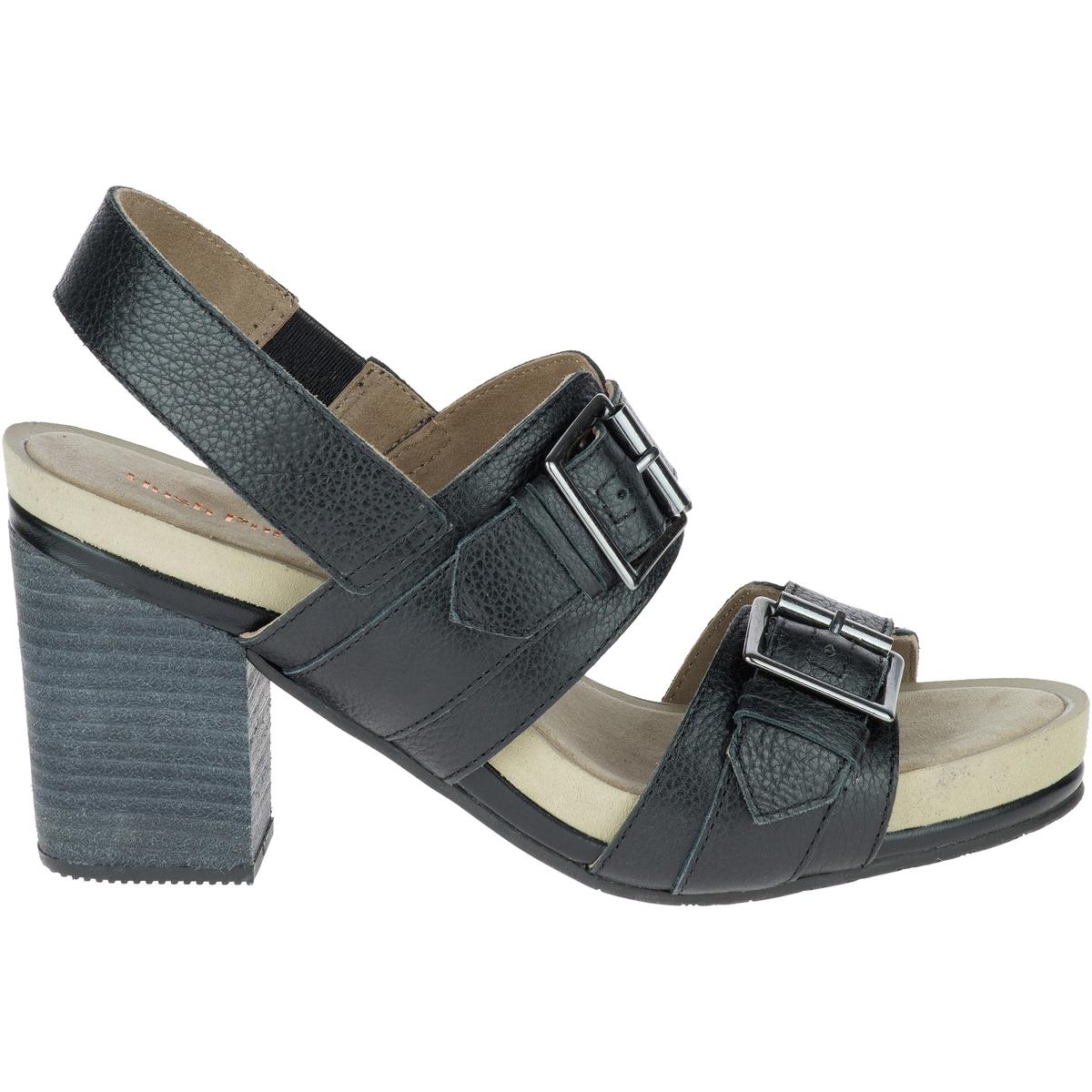 Босоножки кожаные LeonieВерх/Голенище : кожа  Подкладка : кожа  Стелька : кожа  Подошва : каучук  Высота каблука : 7 см  Форма каблука : широкий каблук  Мысок : закругленный мысок Застежка : пряжка<br><br>Цвет: черный<br>Размер: 39
