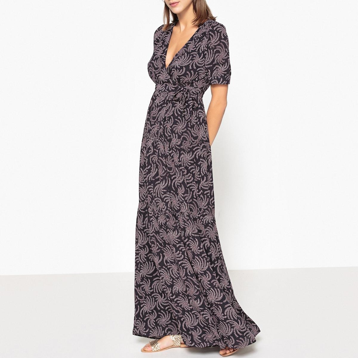 Платье длинное с запахом с рисунком COMING