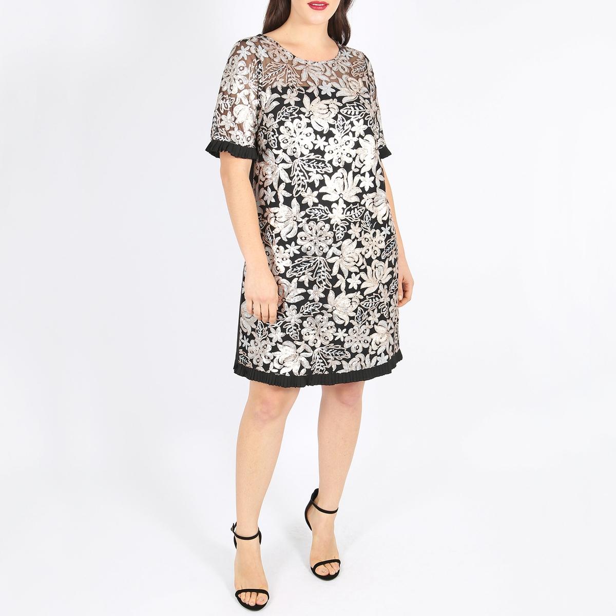 Платье с круглым вырезом, пайетками и короткими рукавами платье с короткими рукавами верх с пайетками page 1