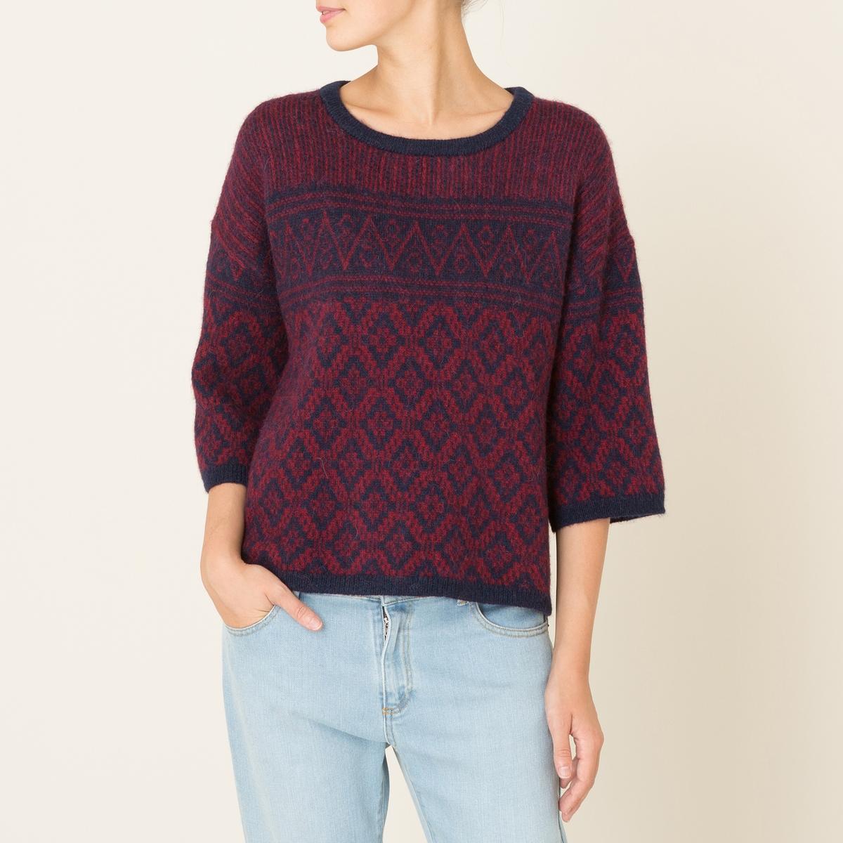 Пуловер TIGERПуловер HARRIS WILSON - модель TIGER. Пуловер объемного покроя из жаккардового трикотажа. Круглый вырез. Рукава 3/4. Прямой низ. Состав и описание Материал : 53% полиамида, 28% альпаки, 19% шерстиМарка : HARRIS WILSON<br><br>Цвет: темно-синий