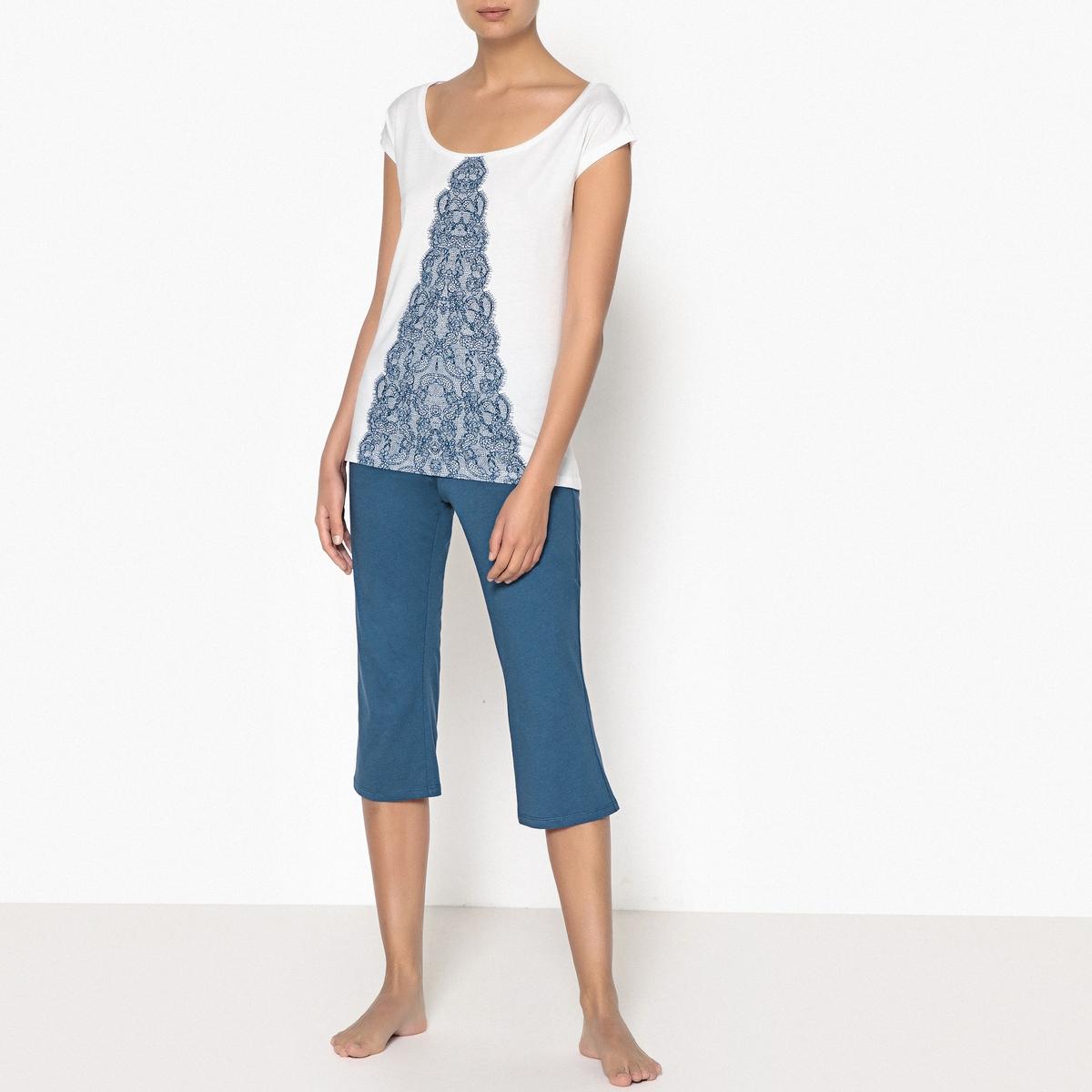 Пижама с шортами из хлопка с принтом из кружева цены онлайн