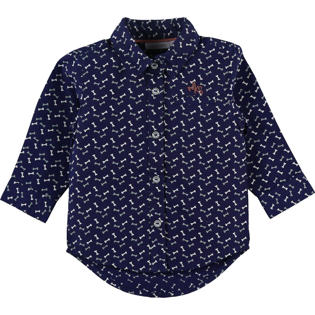 La chemise marine en coton imprimé