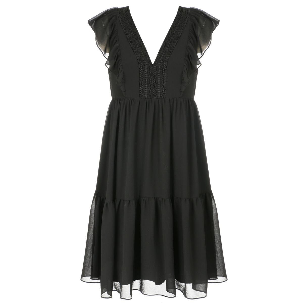 Платье La Redoute Короткое расклешенное на подкладке из вуали с V-образным вырезом 36 (FR) - 42 (RUS) черный платье la redoute струящееся короткое расклешенное с кружевными бретелями 36 fr 42 rus оранжевый