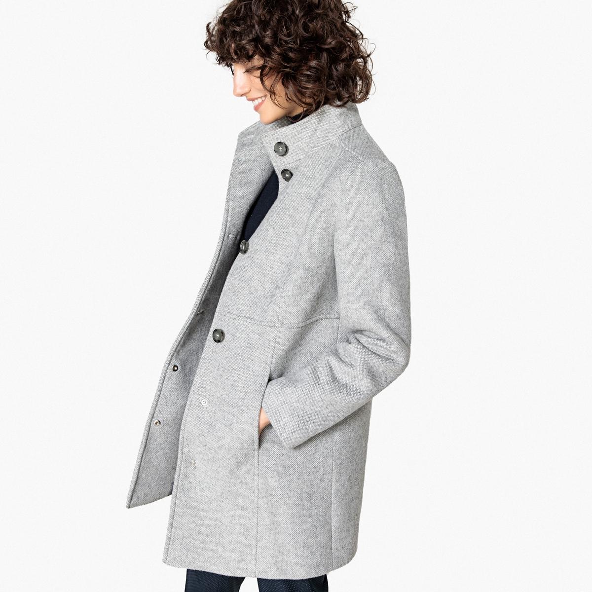 Abrigo de lana mezclada con cuello alto