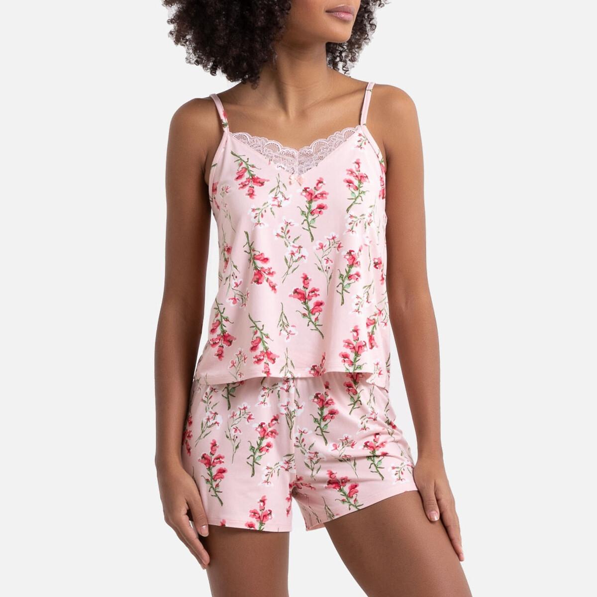 Pijama con short de punto suave estampado