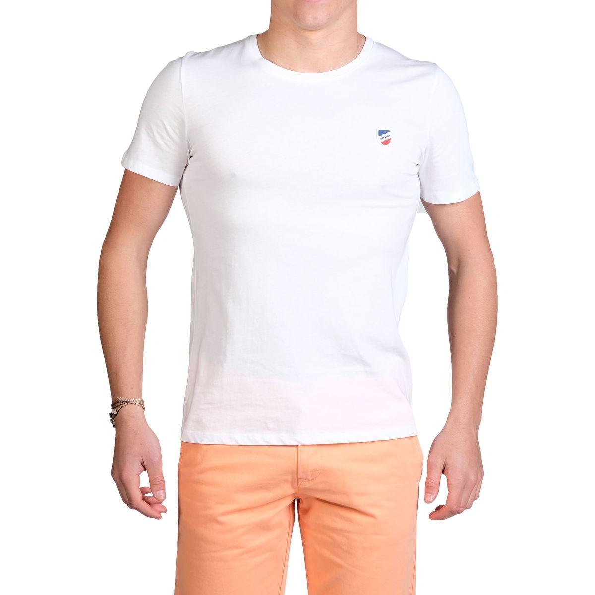 T-shirt manches courtes Blanc écusson