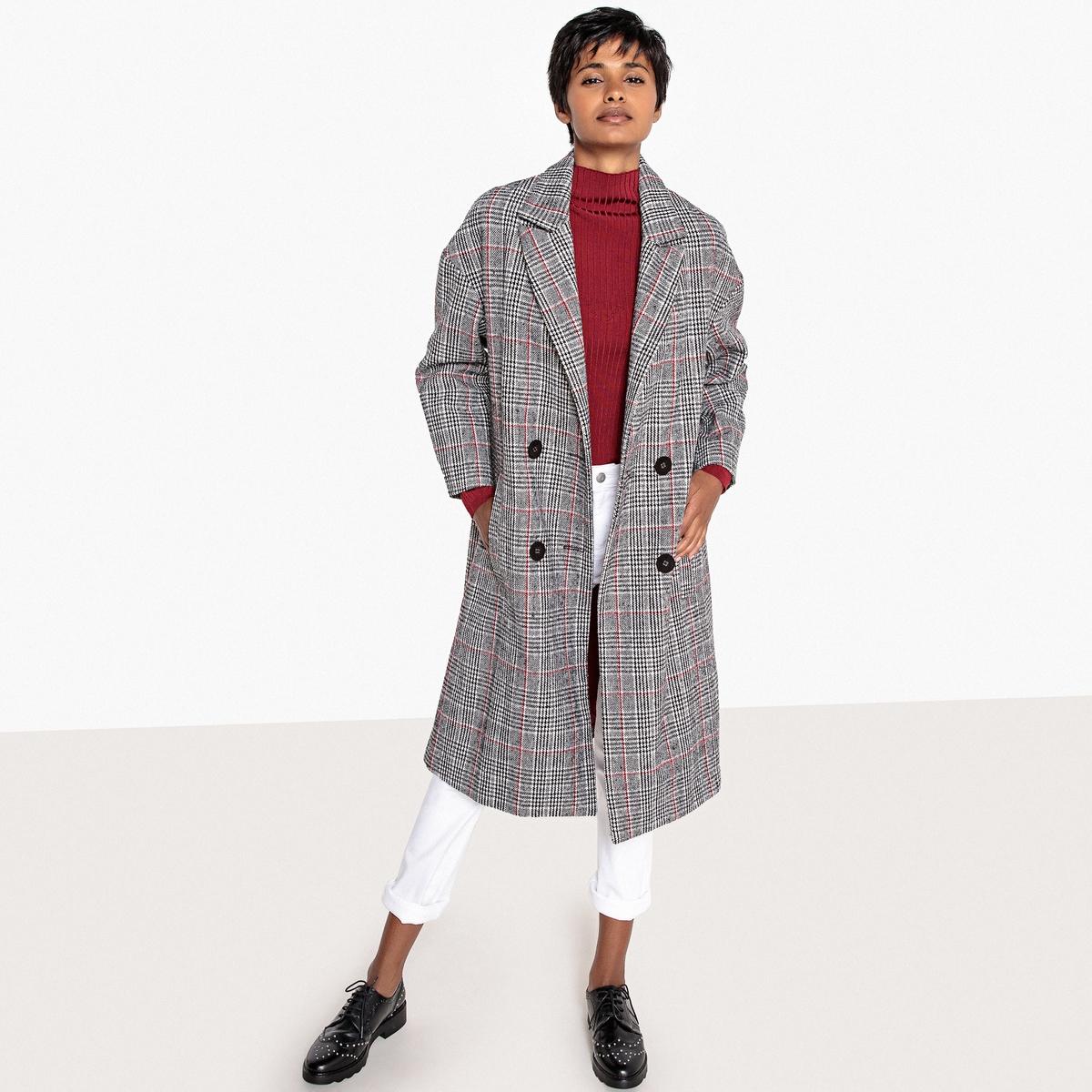 Пальто в клетку с двубортной застежкой на пуговицы