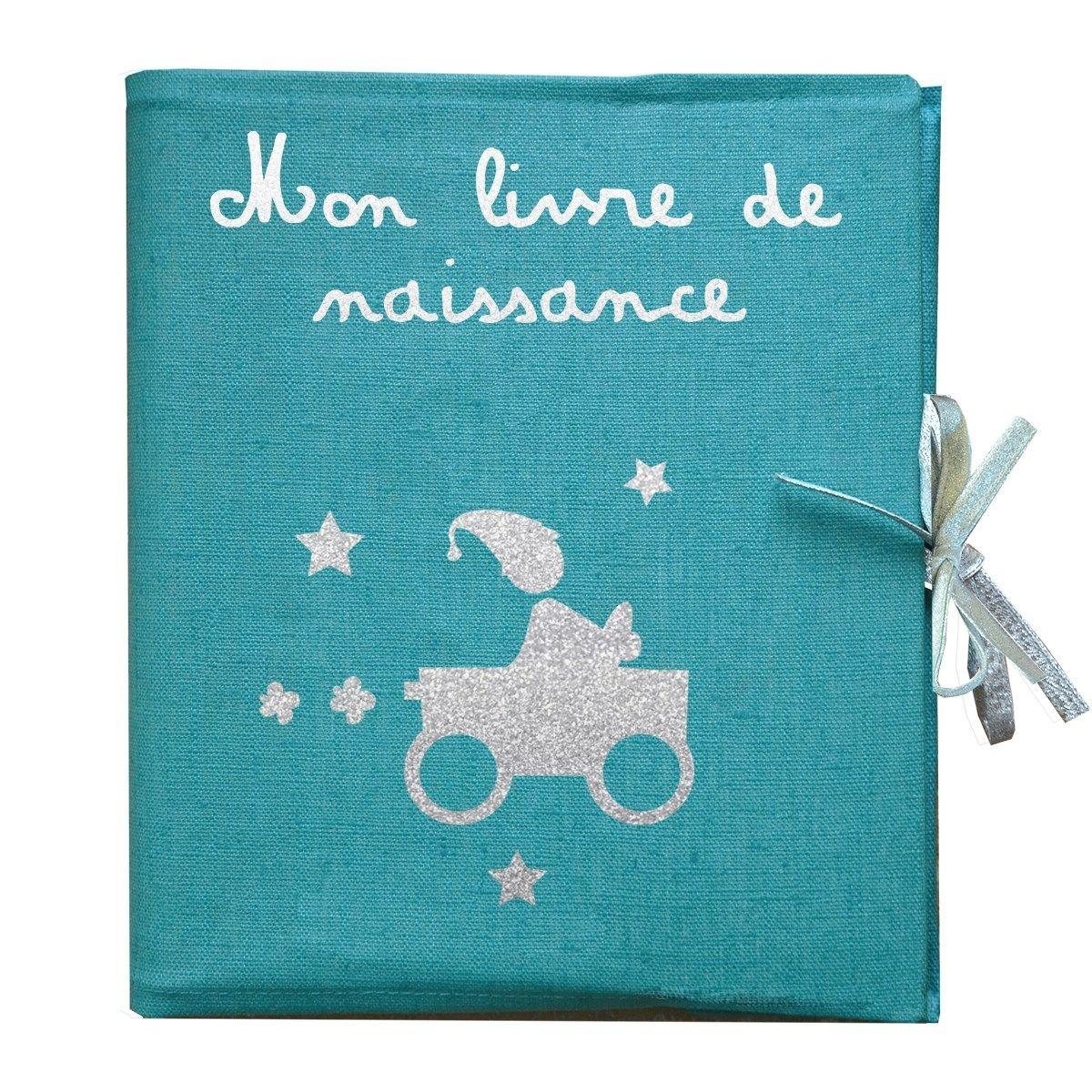 Livre de naissance en lin enduit bleu motif garçon et voiture