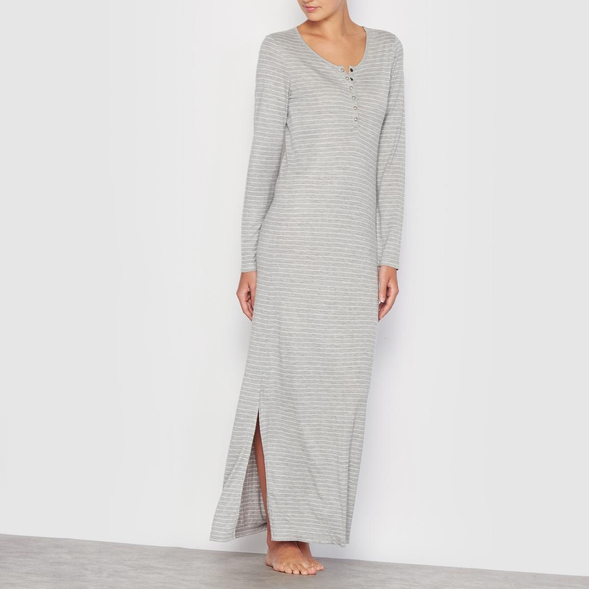 Ночная сорочка длинная женскаяМатериал джерси,100% вискоза. Разрезы по бокам. Планка с пуговицами на вырезе. Длина : 135 см. Машинная стирка при 30° C.<br><br>Цвет: темно-серый меланж