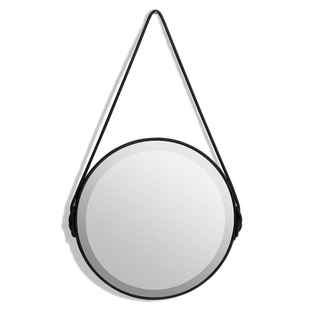 Зеркало Lien, диаметр 50 смЗеркало Lien с эффектом гранения. Игра света наполнит интерьер сиянием !Характеристики :- Отделка хлопковым шнуром по всей окружности и для фиксации на стене.- Оборотная сторона из МДФ.Размеры :- Диаметр 50 x высота 85,5 см. - Зеркало, диаметр 50 см<br><br>Цвет: черный