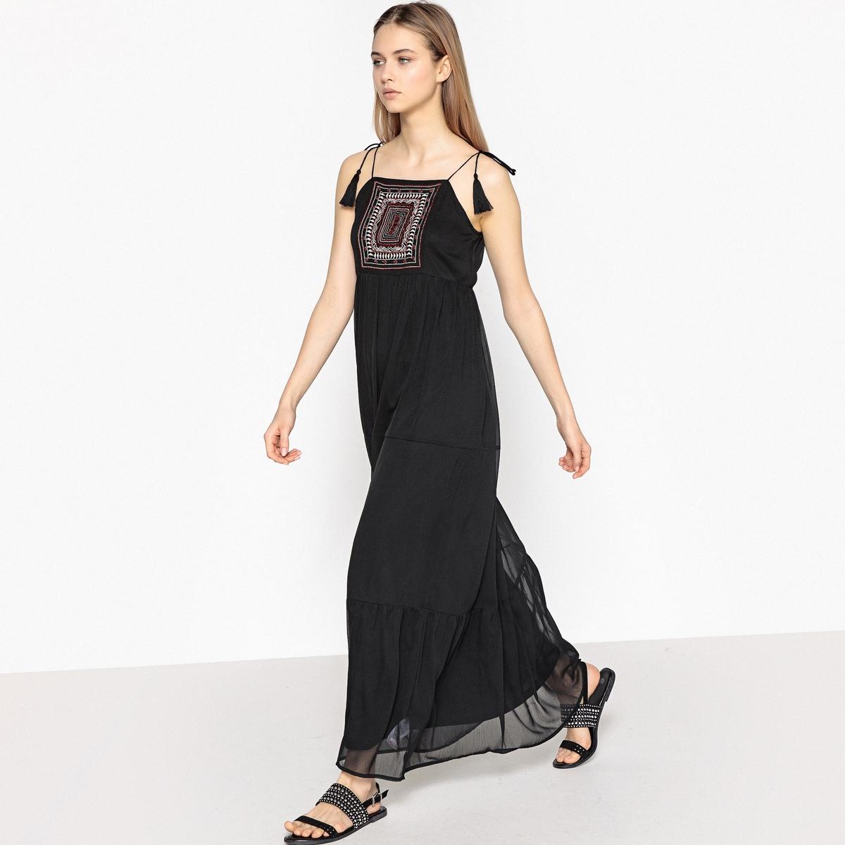 Платье длинное с бретелями с завязками, вышивка с бисером