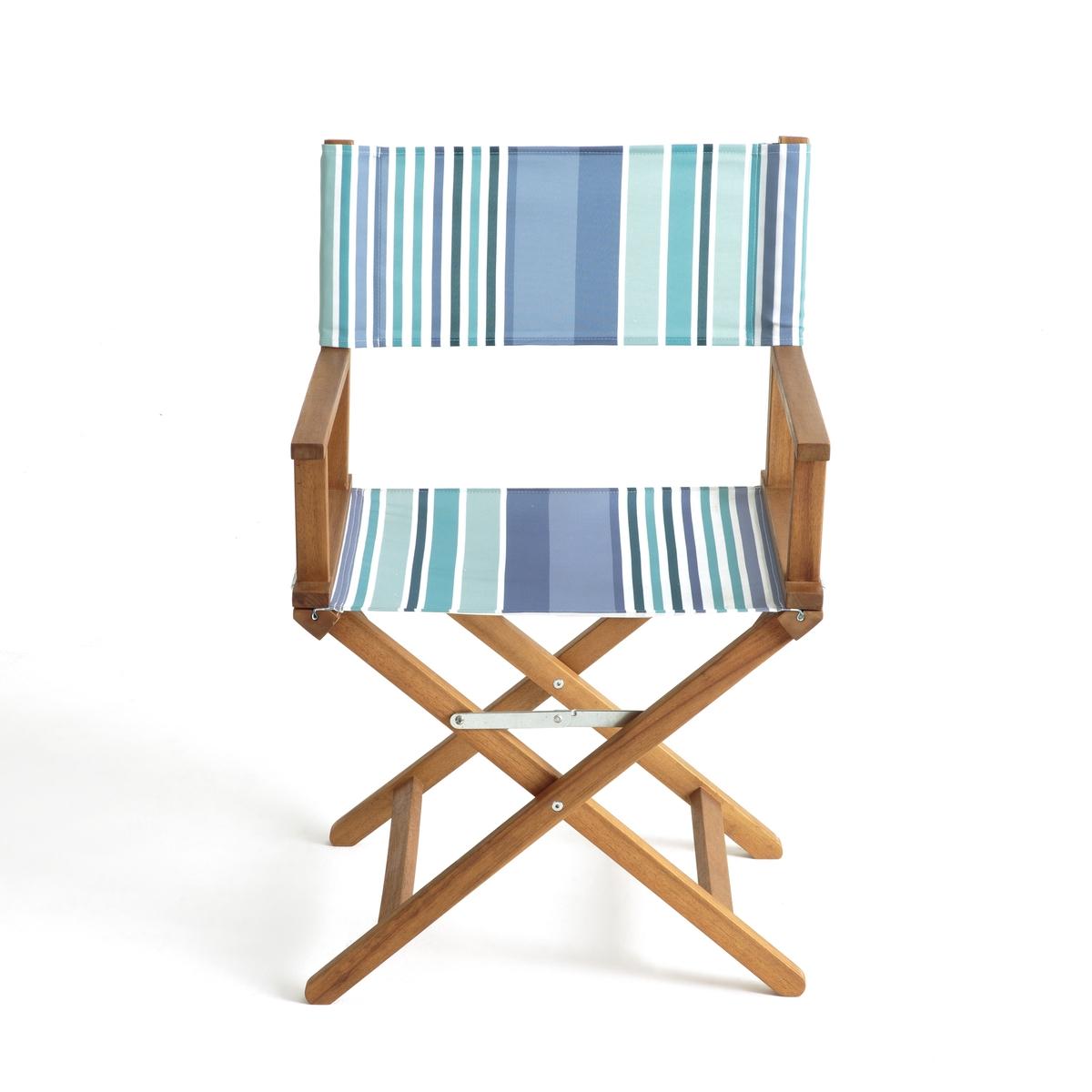 Кресло кинорежиссераВ саду и дома, режиссерское кресло производит сильное впечатление.Характеристики кресла :Из акации с масляной пропиткой. - Покрытие  100% полиэстера .- Полностью складное .Поставляется  собранным, в сложенном виде .Размеры :- Общие: L56/57,5 x H88 x P43 см. Это кресло кинорежиссера для экстерьера может быть доставлено (без доплаты), если необходимо, до вашей квартиры.Вы можете обменять или вернуть кресло в течение 15 дней, предварительно оговорив это при покупке.<br><br>Цвет: синяя полоска