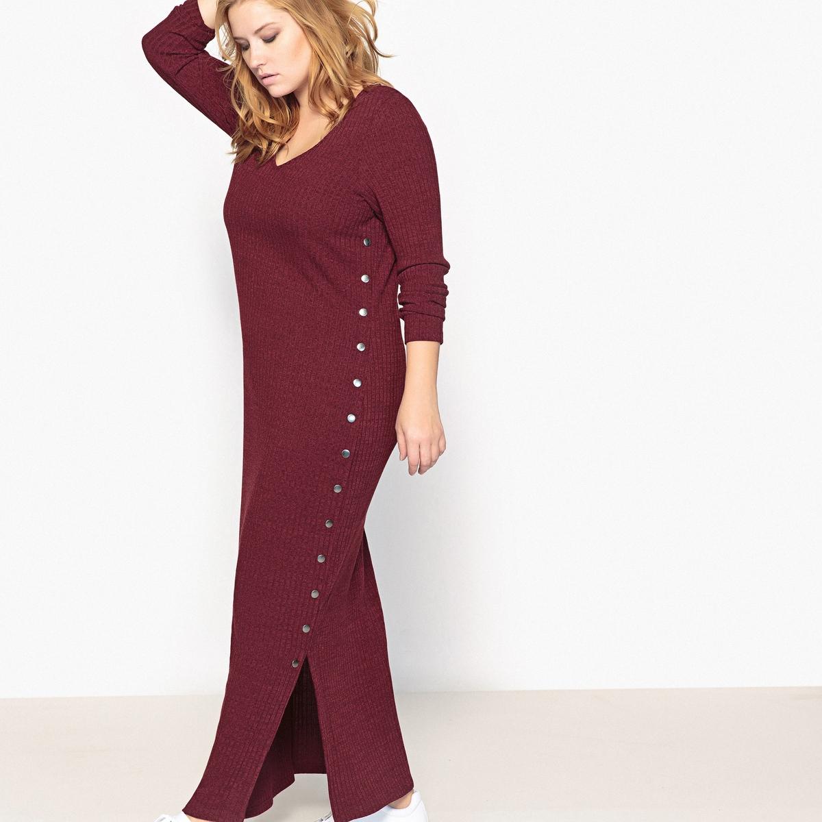 Платье-пуловер длинное, однотонное, с длинными рукавами