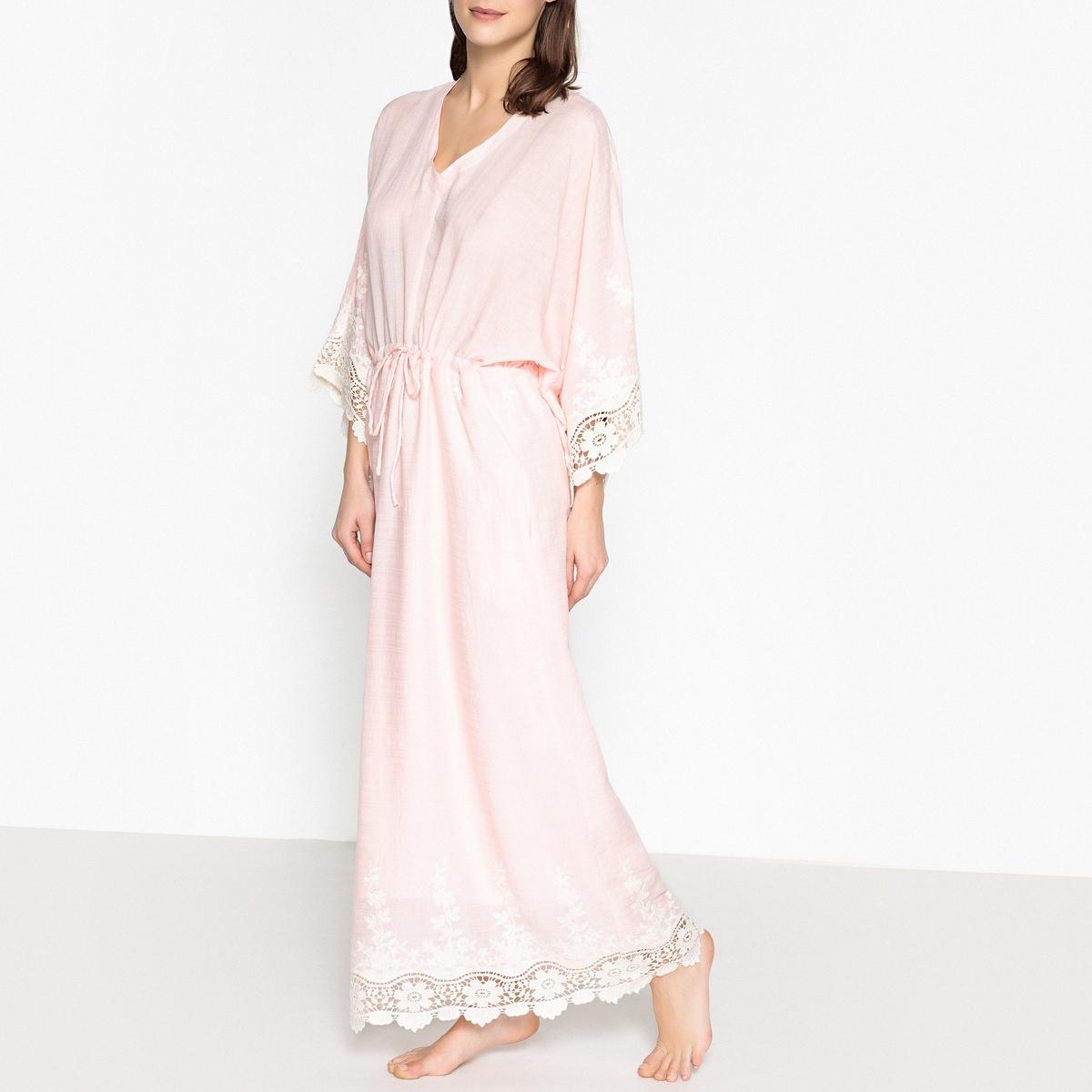 Платье длинное с вышивкой JEMMAОписаниеДлинное платье с вышивкой VALERIE KHALFON - модель JEMMA. Широкие рукава-кимоно, пояс с завязками на кулиске. Контрастная вышивка на рукавах и по низу. Детали •  Форма : расклешенная •  Длина ниже колен •  Длинные рукава    •   V-образный вырезСостав и уход •  50% вискозы, 50% хлопка •  Следуйте рекомендациям по уходу, указанным на этикетке изделия •  Длина : ок. 150 см для размера 36<br><br>Цвет: розовый