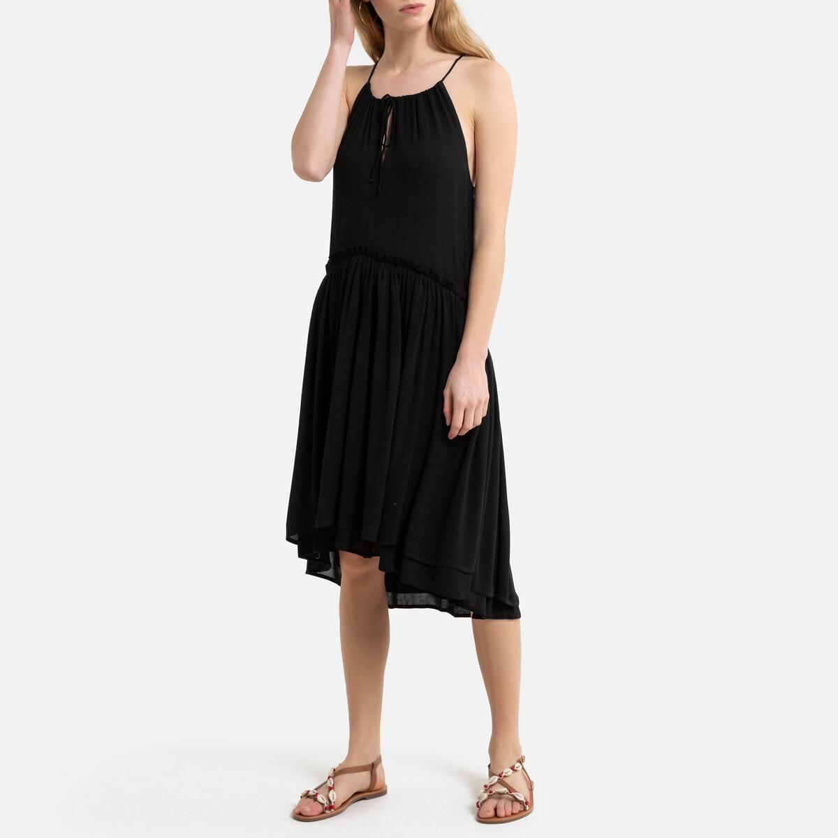 Платье La Redoute Короткое с тонкими бретелями 46 (FR) - 52 (RUS) черный
