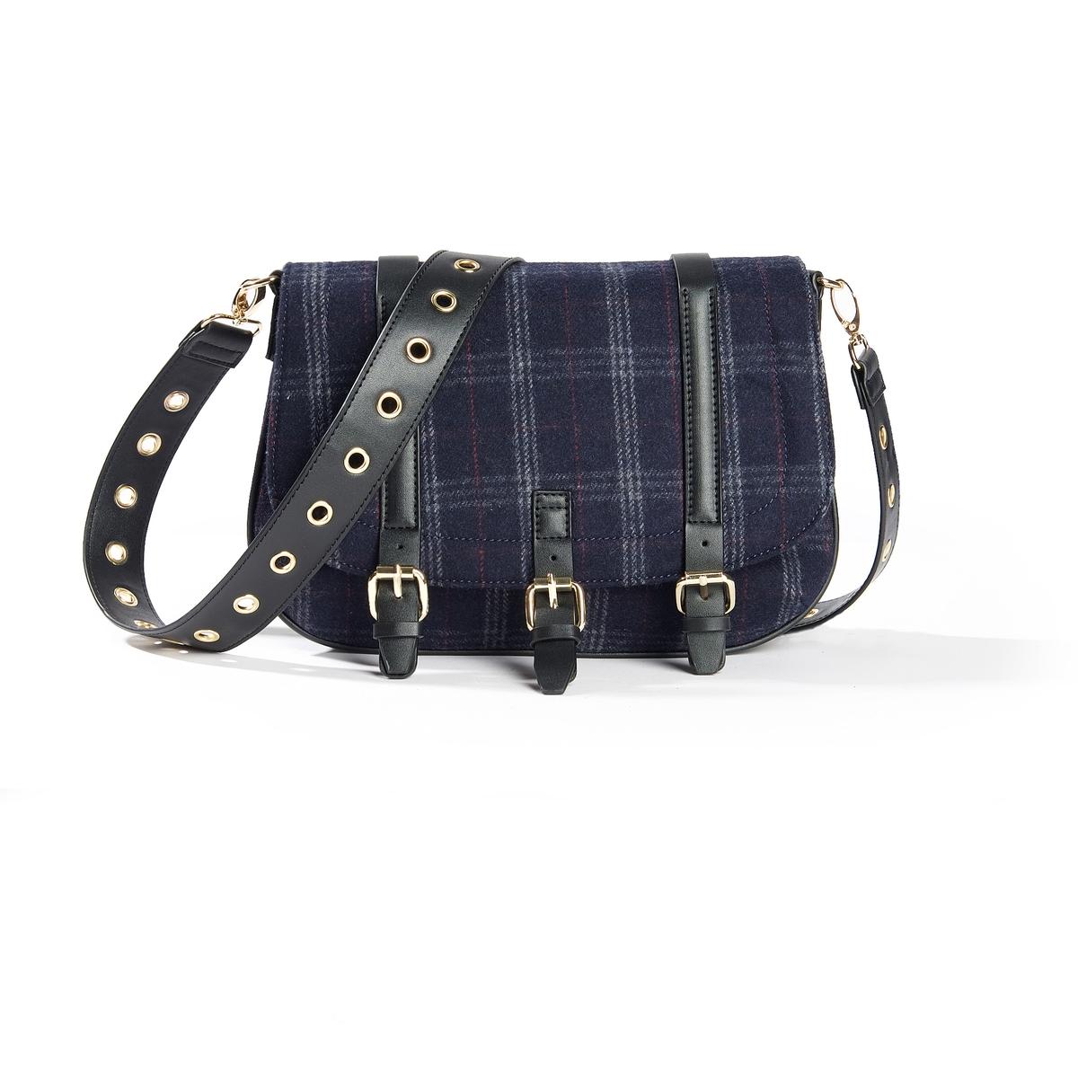 Сумка в клеткуОписание:Удобную и модную сумку можно брать как на прогулку, так и на работу. Состав и описание : Материал : верх из синтетики             подкладка из текстиляМарка : Atelier R. Размер : 30 X 24 X 7 смЗастежка : кнопка на магните1 карман на молнии 2 кармана для мобильного телефона.Регулируемый съемный ремешок<br><br>Цвет: в клетку/синий<br>Размер: единый размер