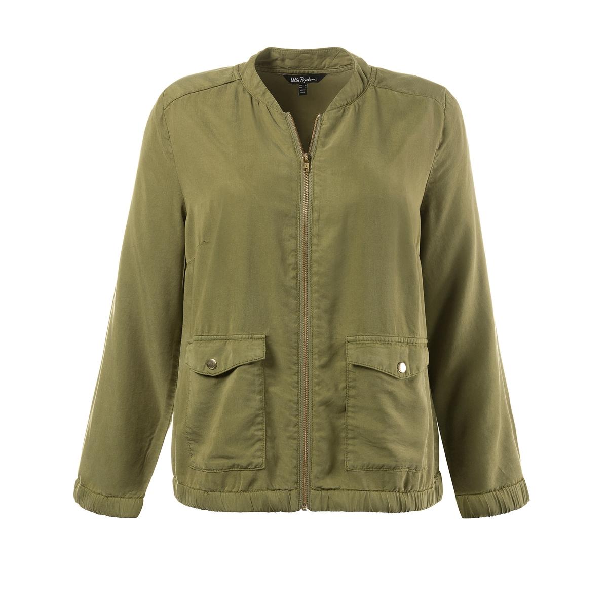 БлузонБлузон ULLA POPKEN. Застежка на молнию, 2 накладных кармана, длинные рукава. Эластичные края. 100% тенсел. Длина в зависимости от размера. 64-74 см<br><br>Цвет: хаки