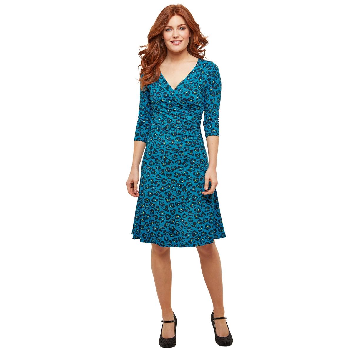 Платье La Redoute С запахом с цветочным рисунком и рукавами 44 (FR) - 50 (RUS) синий платье миди la redoute с запахом струящееся m синий