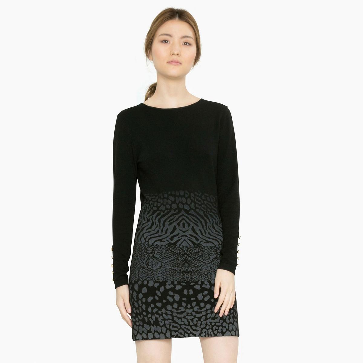 Платье короткое с длинными рукавамиДетали •  Форма : платье-пуловер •  Укороченная модель •  Длинные рукава    •  Круглый вырез  •  Графичный рисунокСостав и уход •  5% шерсти, 28% акрила, 11% полиамида, 56% полиэстера •  Следуйте рекомендациям по уходу, указанным на этикетке изделия<br><br>Цвет: черный