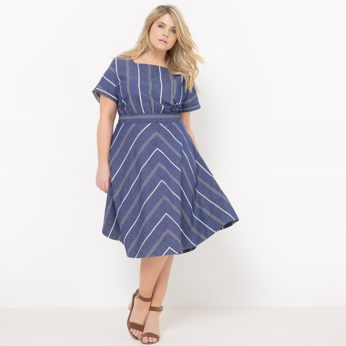 Платье длинное до середины голени. Короткие рукава платье длинное из льна и хлопка