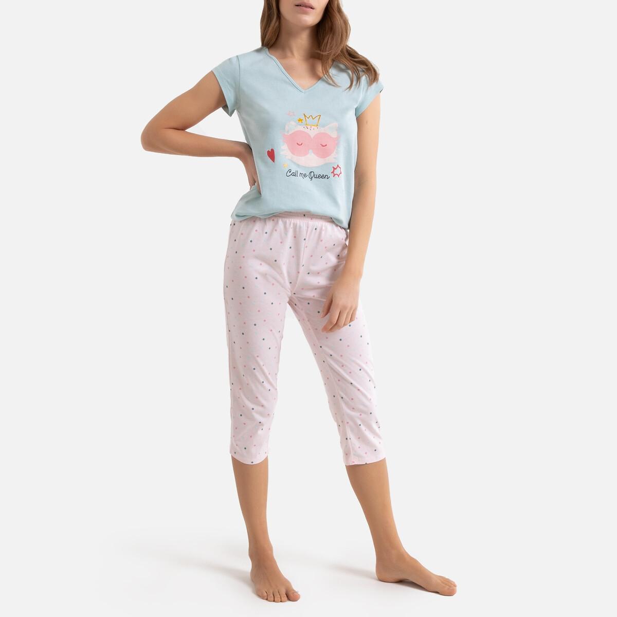 Pijama con short y estampado de gato, 100% algodón