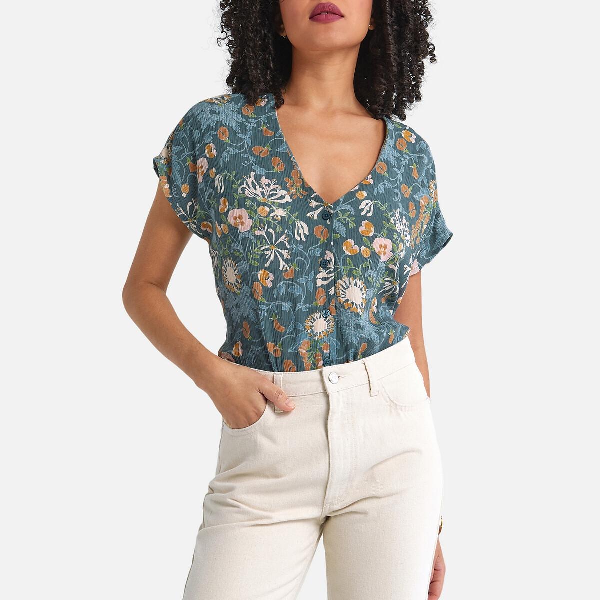 Рубашка La Redoute С V-образным вырезом короткими рукавами и цветочным принтом 34 (FR) - 40 (RUS) разноцветный