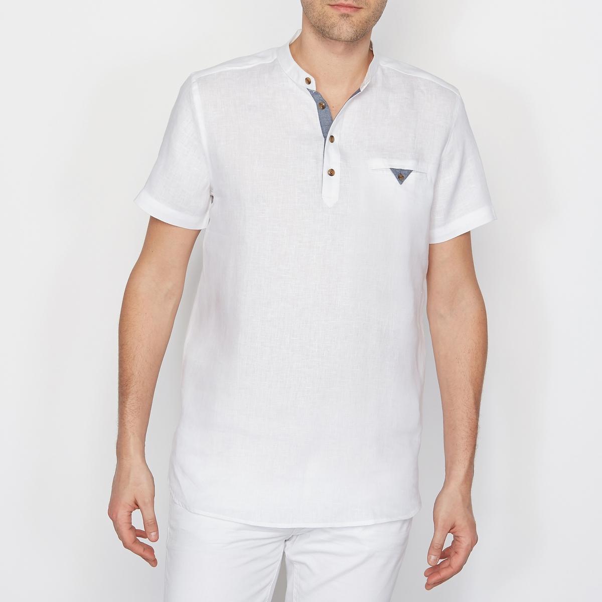 Рубашка из 100% льна, свободный покрой, короткие рукава