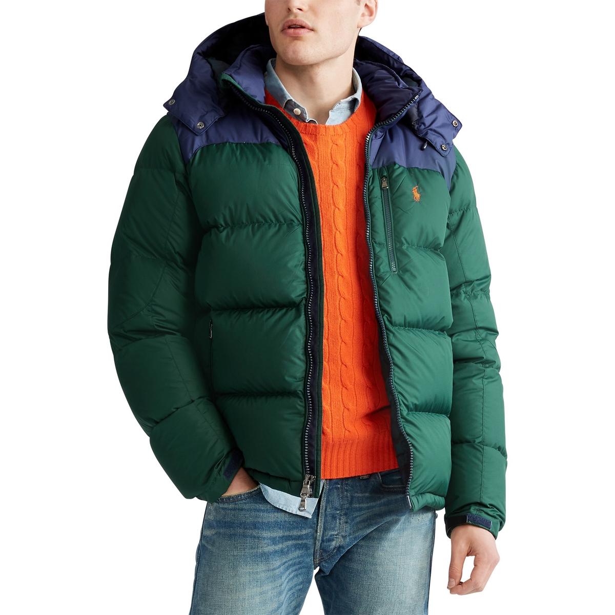 Куртка La Redoute Стеганая на молнии из двух материалов со съемным капюшоном M синий куртка la redoute стеганая на молнии с капюшоном meter xxl синий