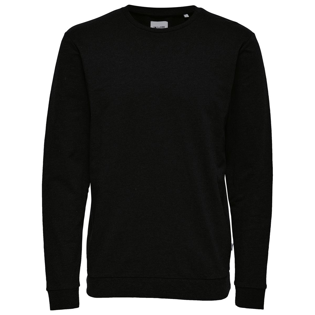 Свитшот с круглым вырезомОписание •  Длинные рукава  •  Без застежки Состав и уход •  100% хлопок  •  Следуйте рекомендациям по уходу, указанным на этикетке изделия<br><br>Цвет: черный<br>Размер: XL.L
