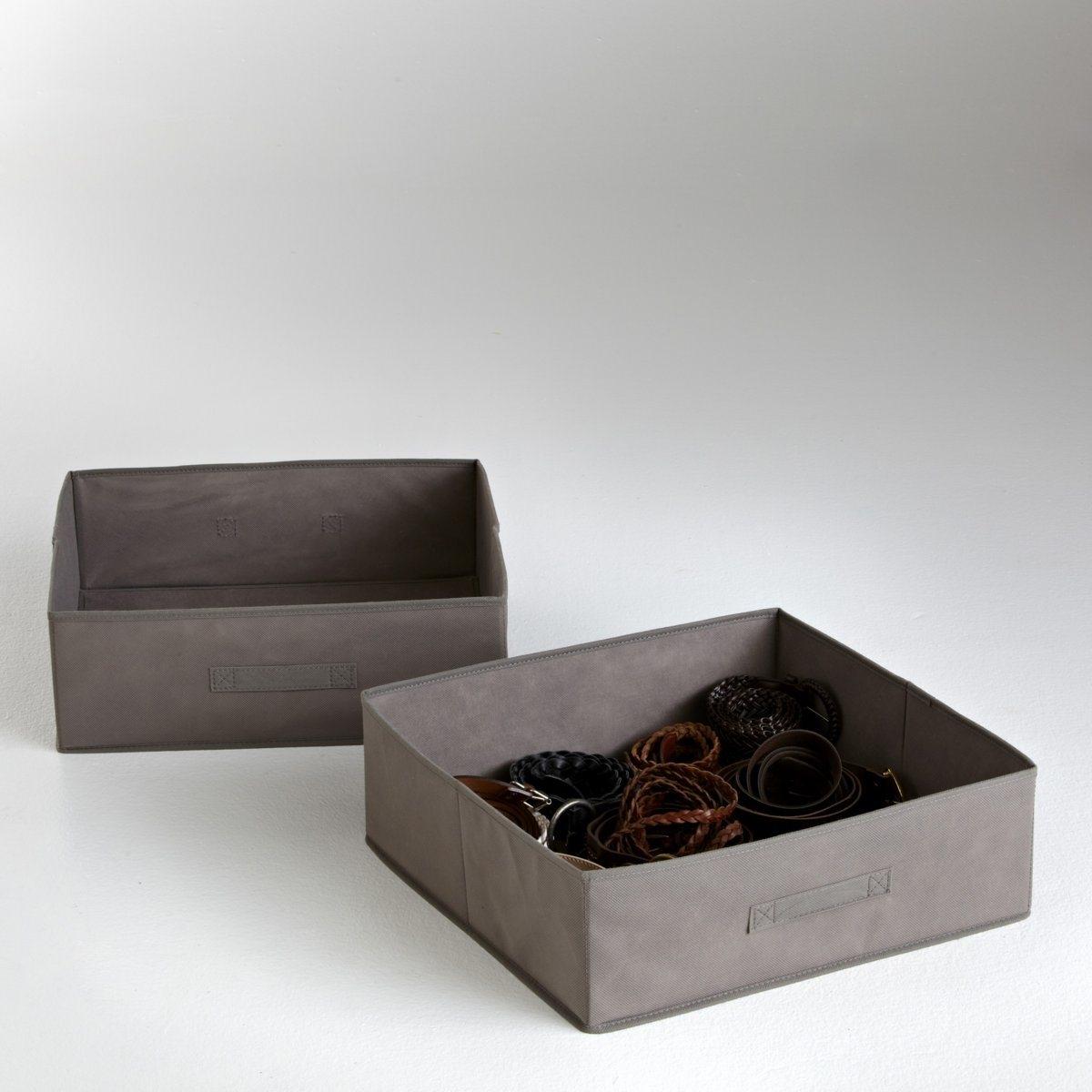 2 ящика складныхКрасивое и оригинальное решением для хранения вещей. Складной ящик из нетканого материала. Картонная основа. Размер: 45 х 15 х 45 см.<br><br>Цвет: антрацит,серо-коричневый