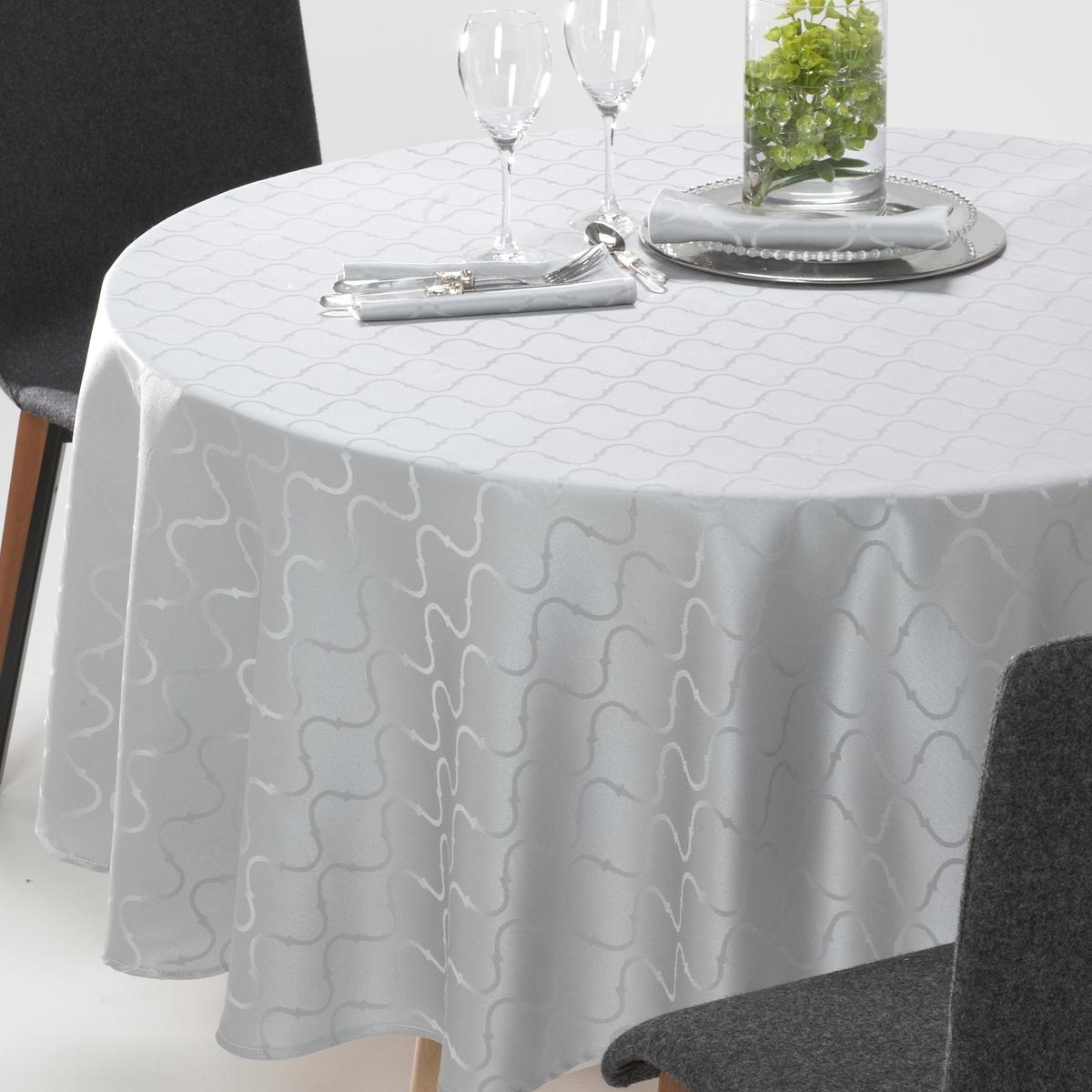 Toalha de mesa redonda Salomé, jacquard adamascado, com padrão