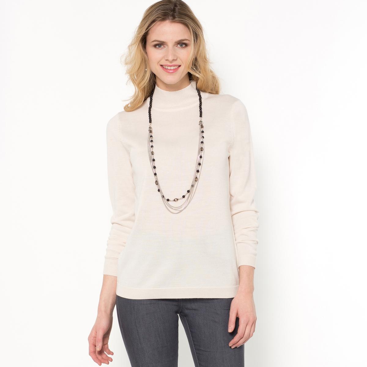 Пуловер со стоячим воротником, 50% шерсти мериноса