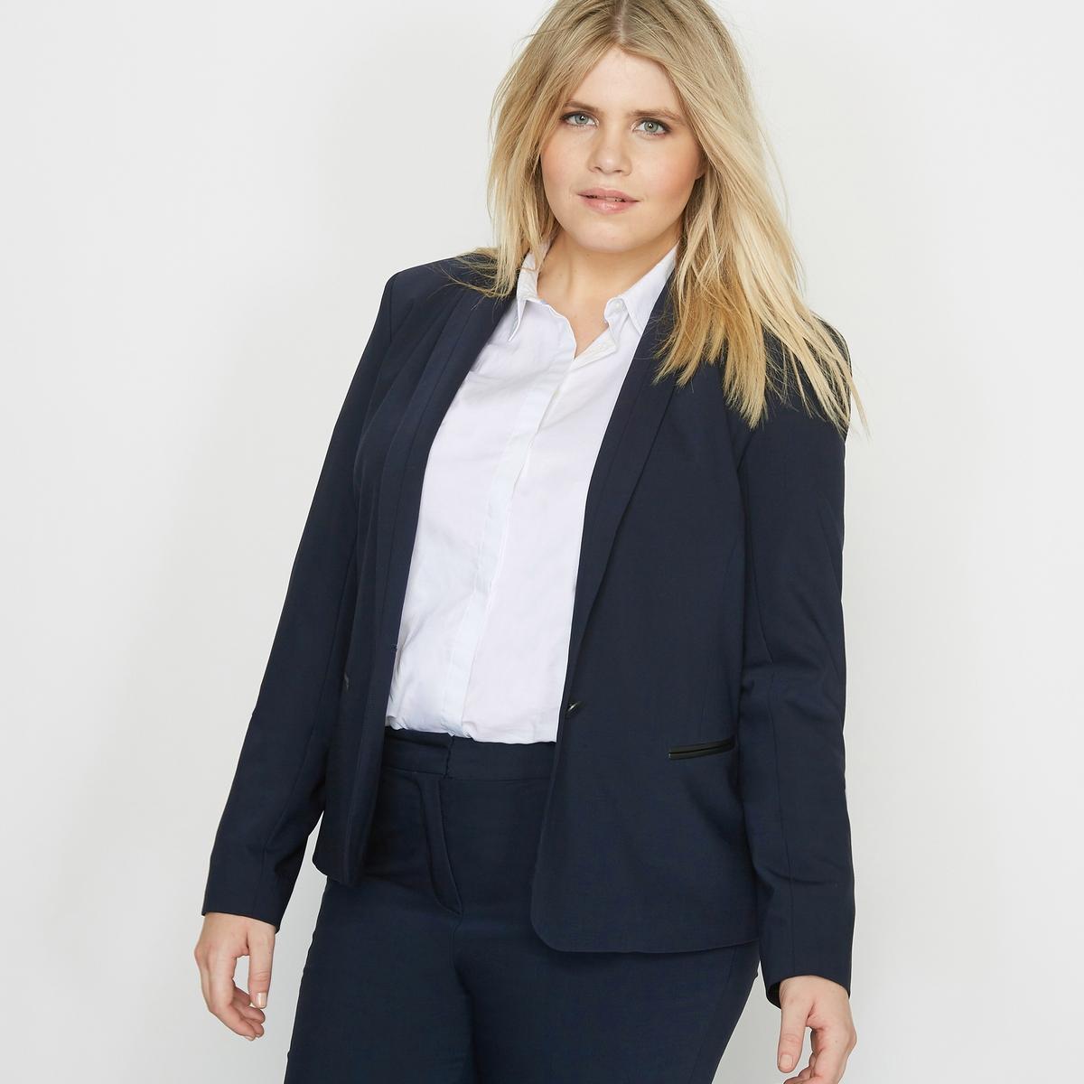 Пиджак костюмный из полушерсти1 внутренний карман с застежкой на пуговицу.Состав и описание :Материал : 53 % полиэстера, 43 % шерсти, 4 % эластана . Подкладка из 100 % полиэстера . Длина : 57 см.. Марка : CASTALUNAУход : Сухая чистка..<br><br>Цвет: темно-синий,черный<br>Размер: 48 (FR) - 54 (RUS).50 (FR) - 56 (RUS)