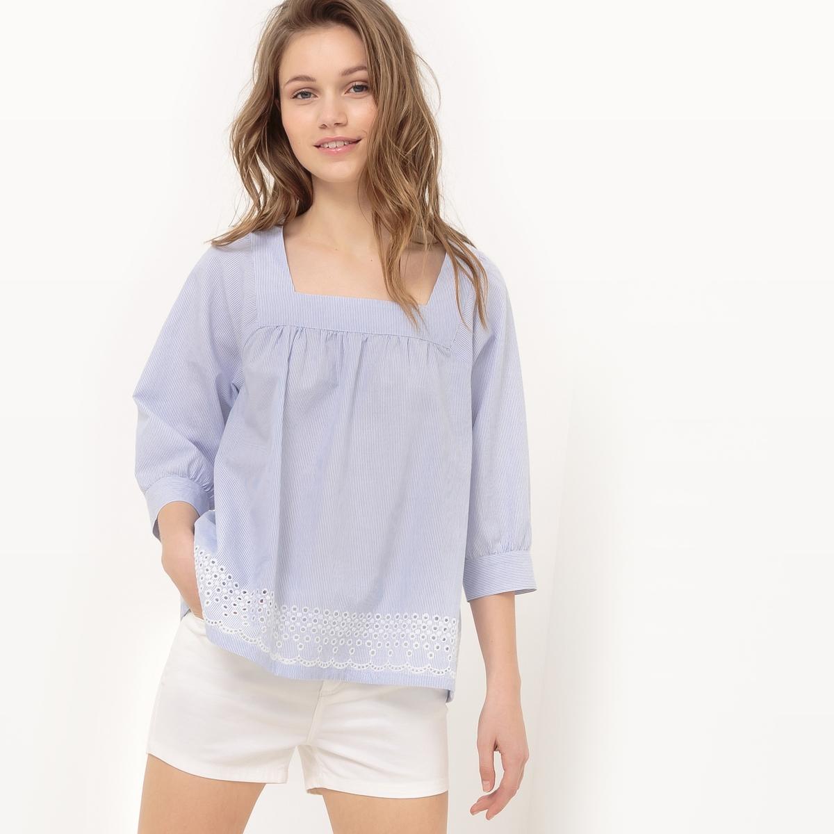 Блузка в полоску с квадратным вырезом