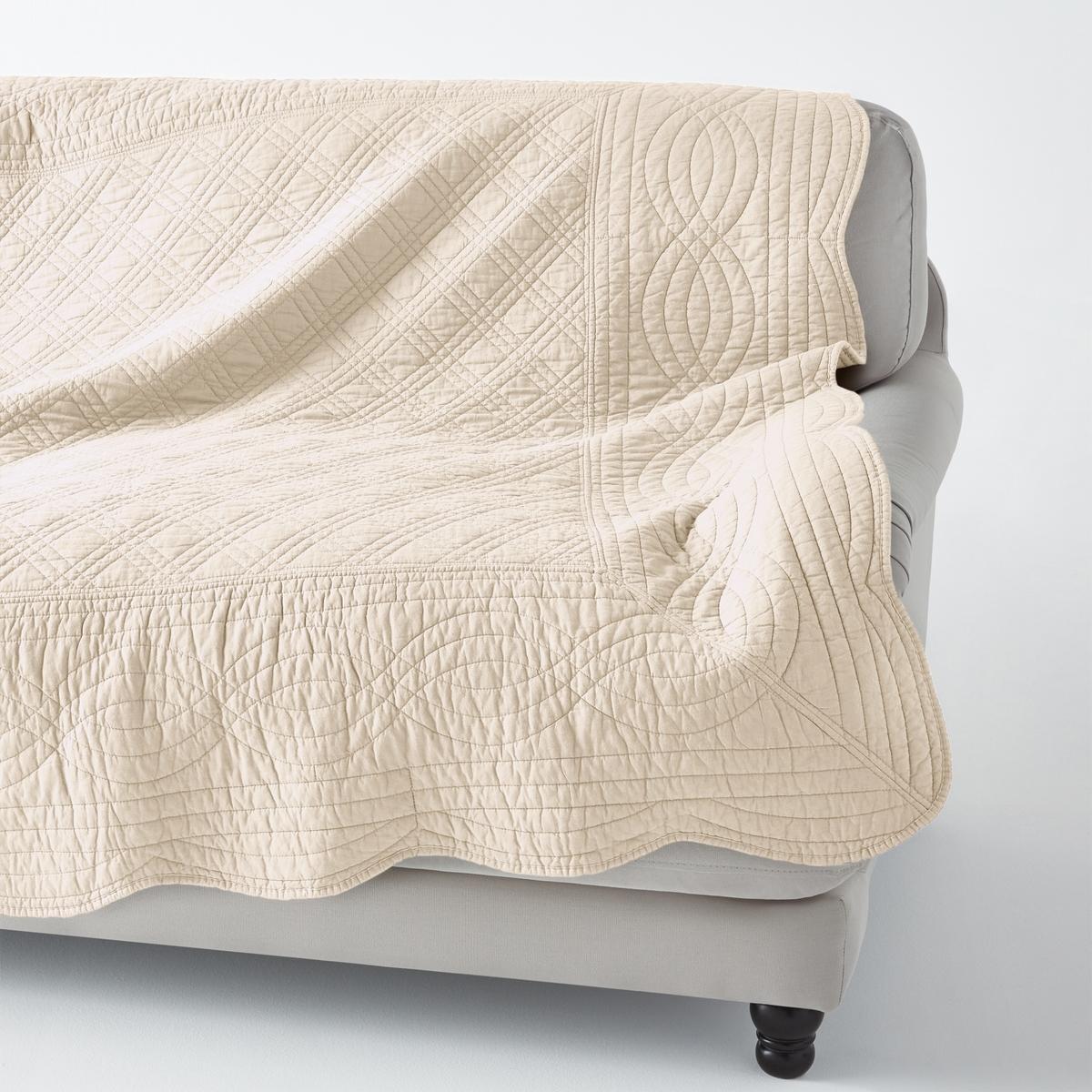 Покрывало стеганоеКачество VALEUR S?RE за качество материалов и тщательную отделку. 100% хлопка. Ручная работа, рельефная стежка, современная цветовая гамма. Наполнитель из 100% хлопка (250 г/м?). Волнистые края. Украсит кровать, кресло, диван… Стирка при 40°. Превосходная<br><br>Цвет: антрацит,белый,светло-коричневый,серо-коричневый,Серо-синий,экрю,ярко-фиолетовый