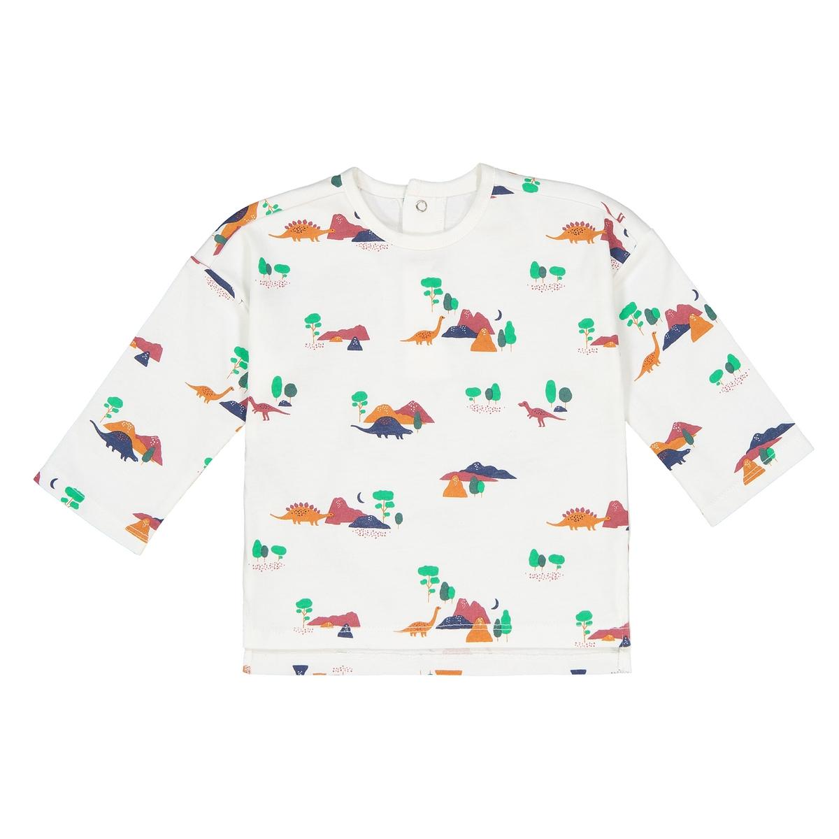 Футболка La Redoute С длинными рукавами и рисунком динозавр мес - лет 0 мес. - 50 см бежевый футболка la redoute с длинными рукавами с вышивкой мес года 0 мес 50 см бежевый