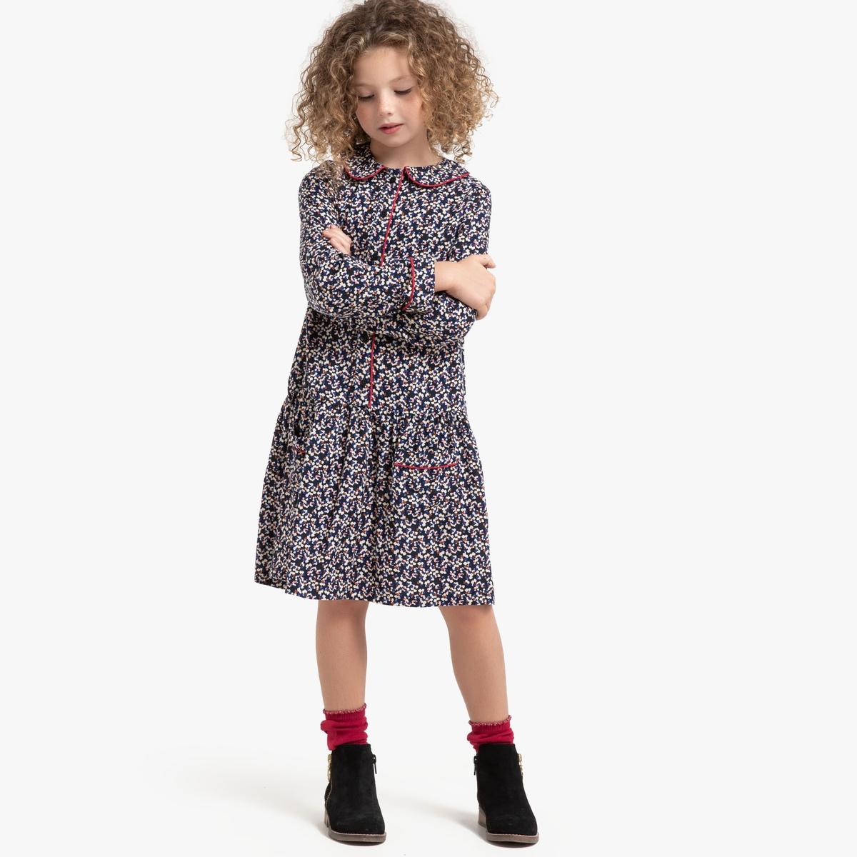 Платье La Redoute Струящееся с длинными рукавами с принтом 8 лет - 126 см другие юбка la redoute расклешенная с принтом 8 лет 126 см другие