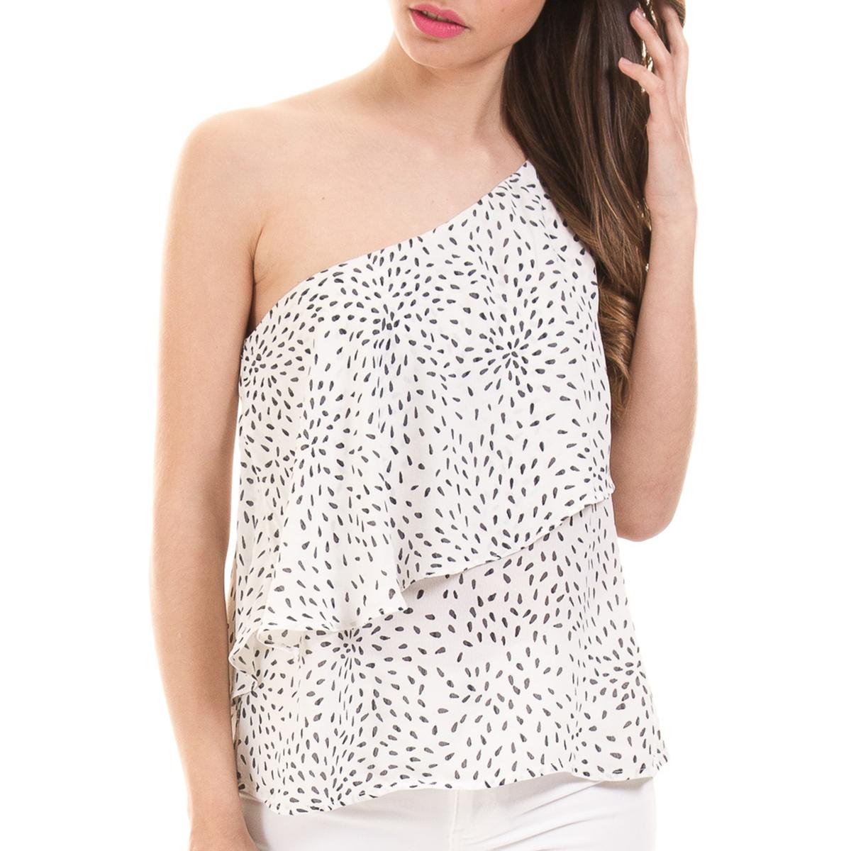 Блузка с рисунком и короткими рукавами блуза vila vila vi004ewupu90