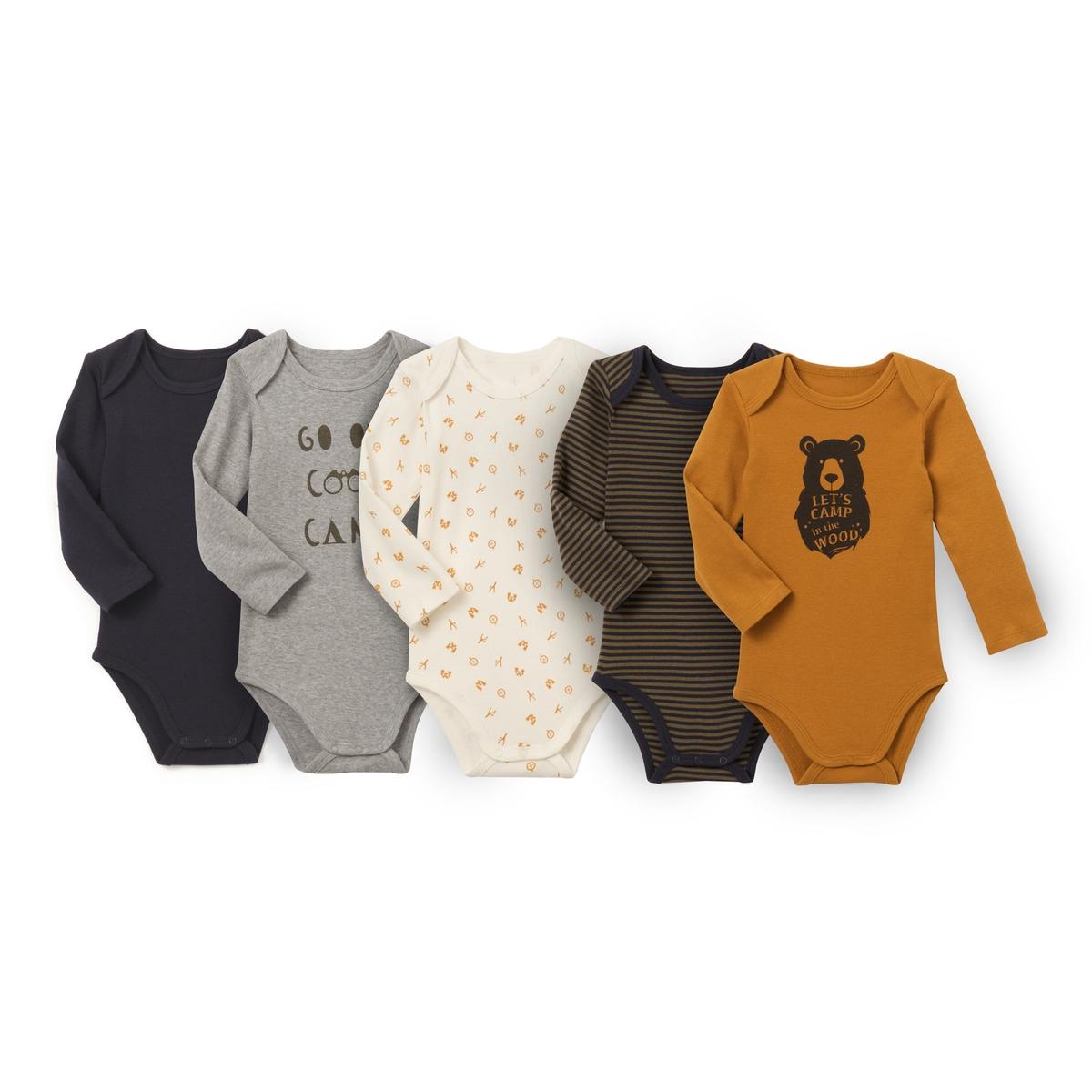 Комплект из 5 боди для новорожденных из хлопкаОписание •  Рисунок-принт •  Для новорожденных •  Длинные рукава  •  Из хлопкаСостав и уход •  100% хлопок  •  Машинная стирка при 40 °С  • Низкая температура глажки / не отбеливать     • Барабанная сушка в умеренном режиме       • Сухая чистка запрещена<br><br>Цвет: разноцветный<br>Размер: 0 мес. - 50 см.3 года - 94 см.2 года - 86 см.18 мес. - 81 см.1 год - 74 см.9 мес. - 71 см.6 мес. - 67 см.3 мес. - 60 см