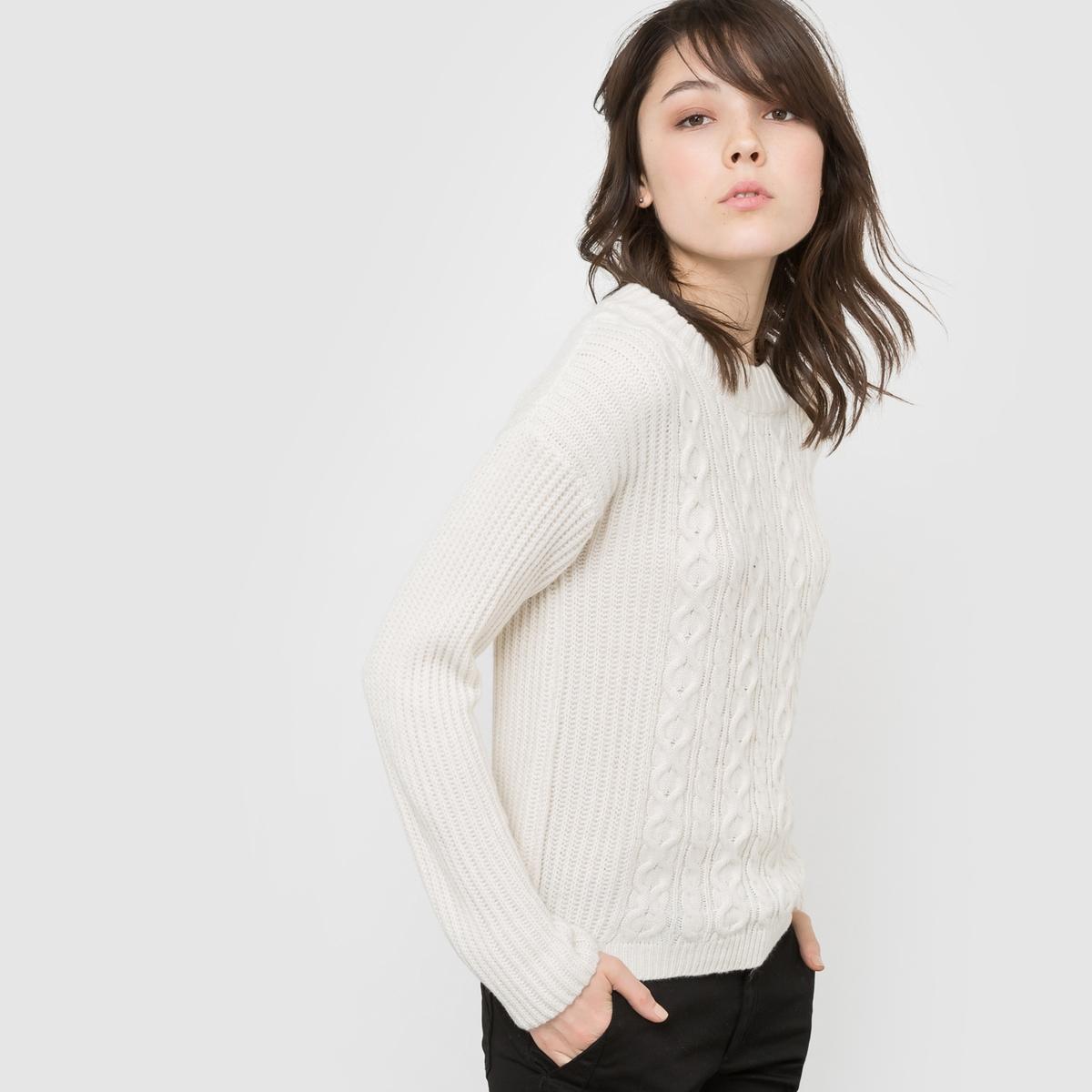 Пуловер из крученого трикотажа с широкой горловиной
