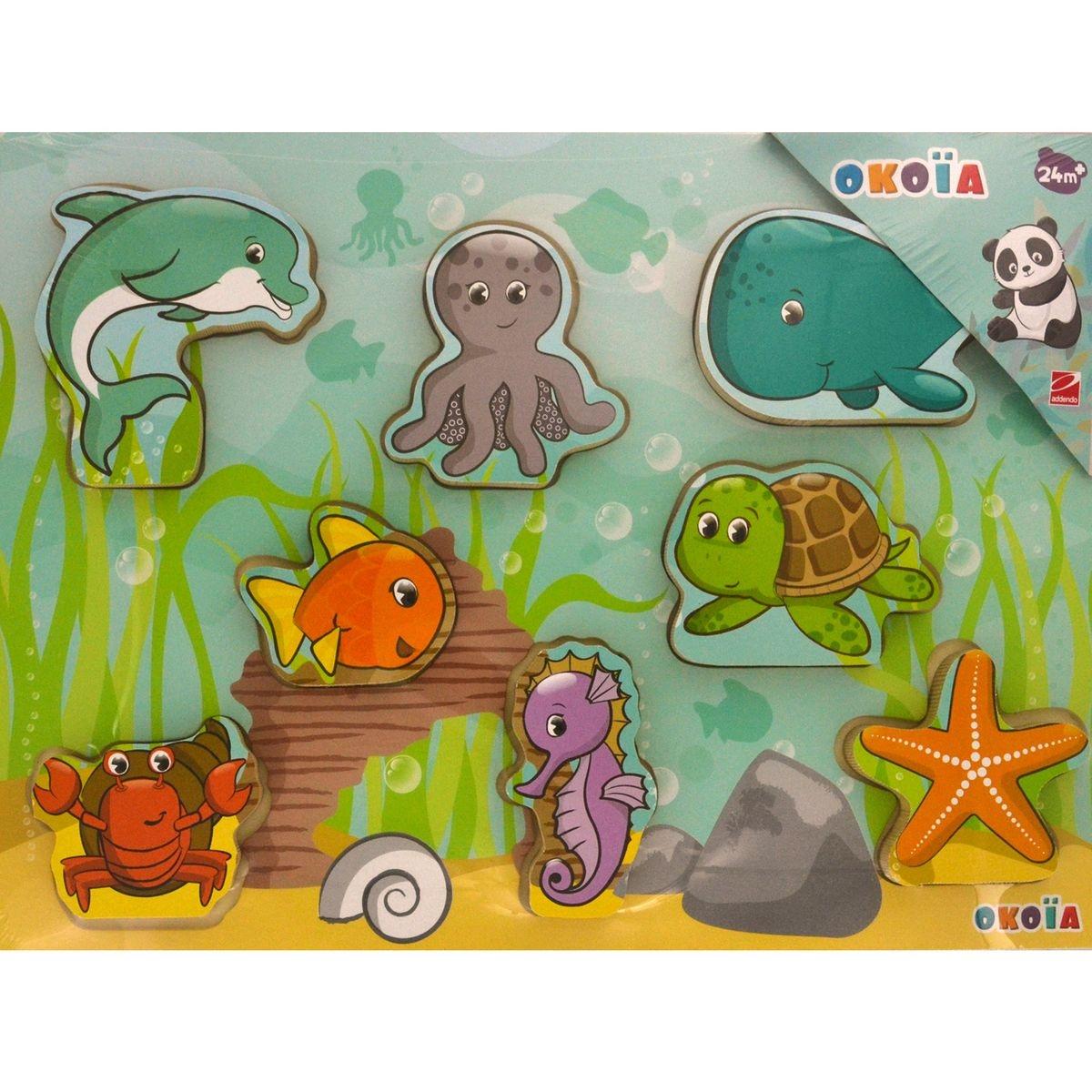 Puzzle en bois 8 pièces : Animaux marins