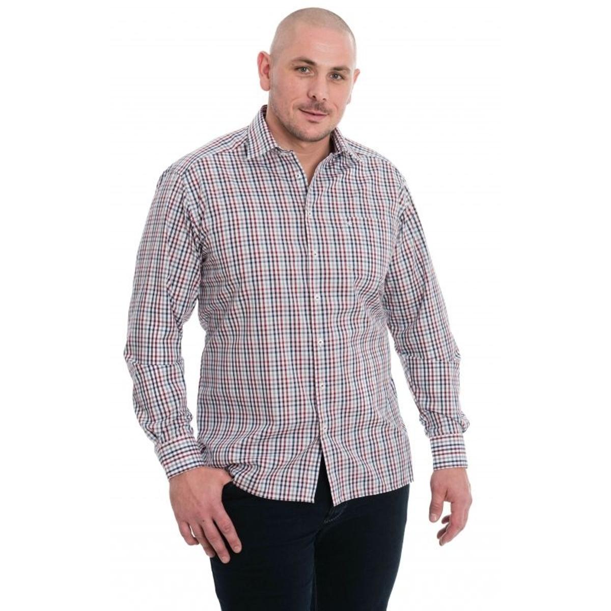 Chemise blanc à petit carreaux bleu, bordeaux, rouge et gris