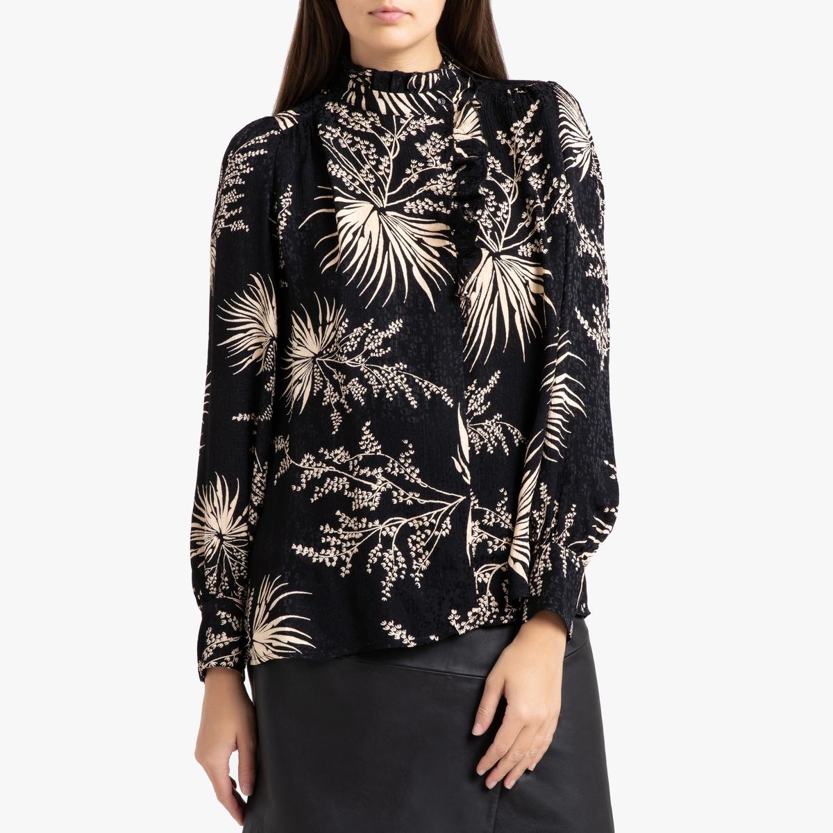 купить Блузка La Redoute С принтом с длинными рукавами EDA 0(XS) черный по цене 17499 рублей