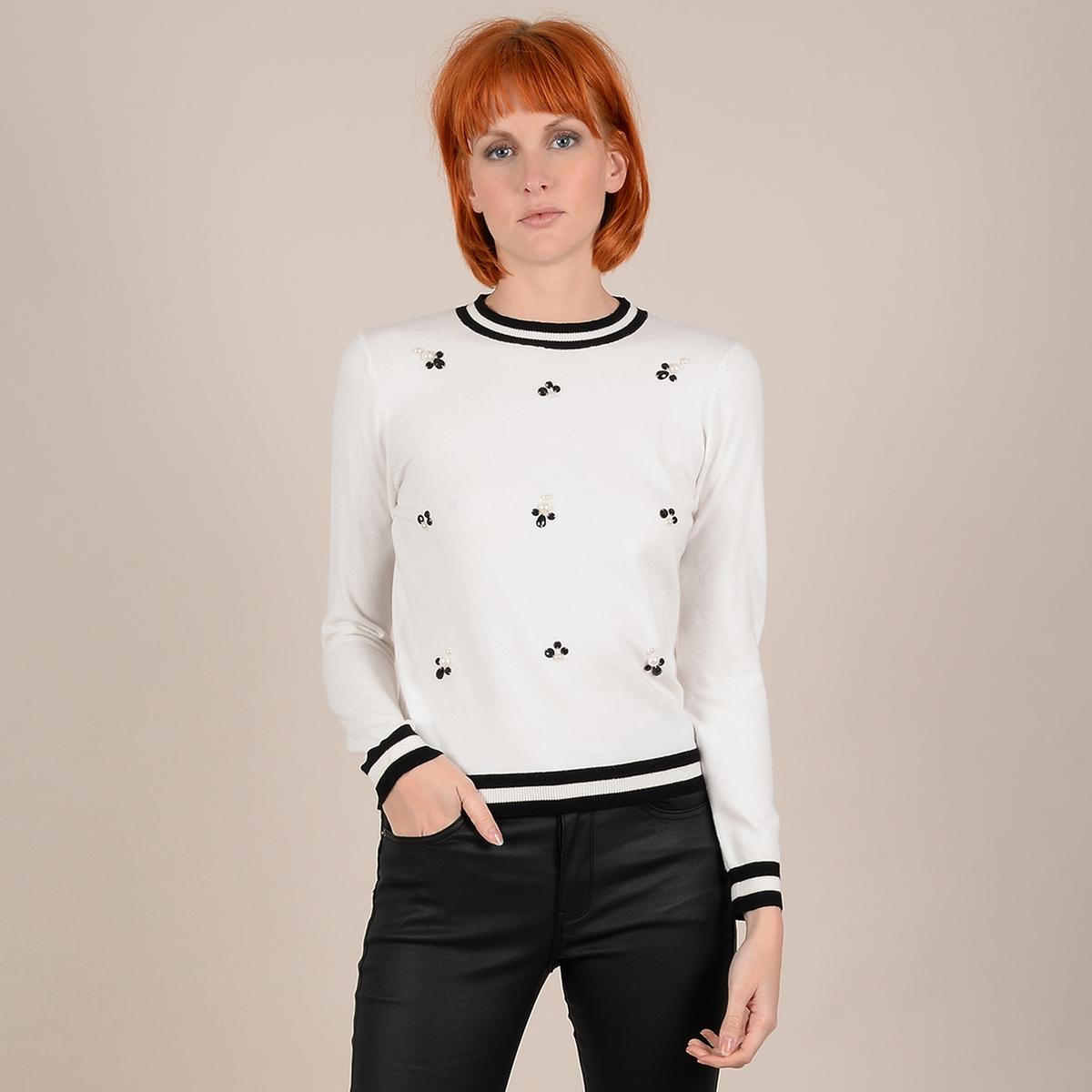 Пуловер La Redoute Из тонкого трикотажа с длинными рукавами с бусинами L/XL бежевый пуловер la redoute из тонкого трикотажа со шнуровкой l бежевый