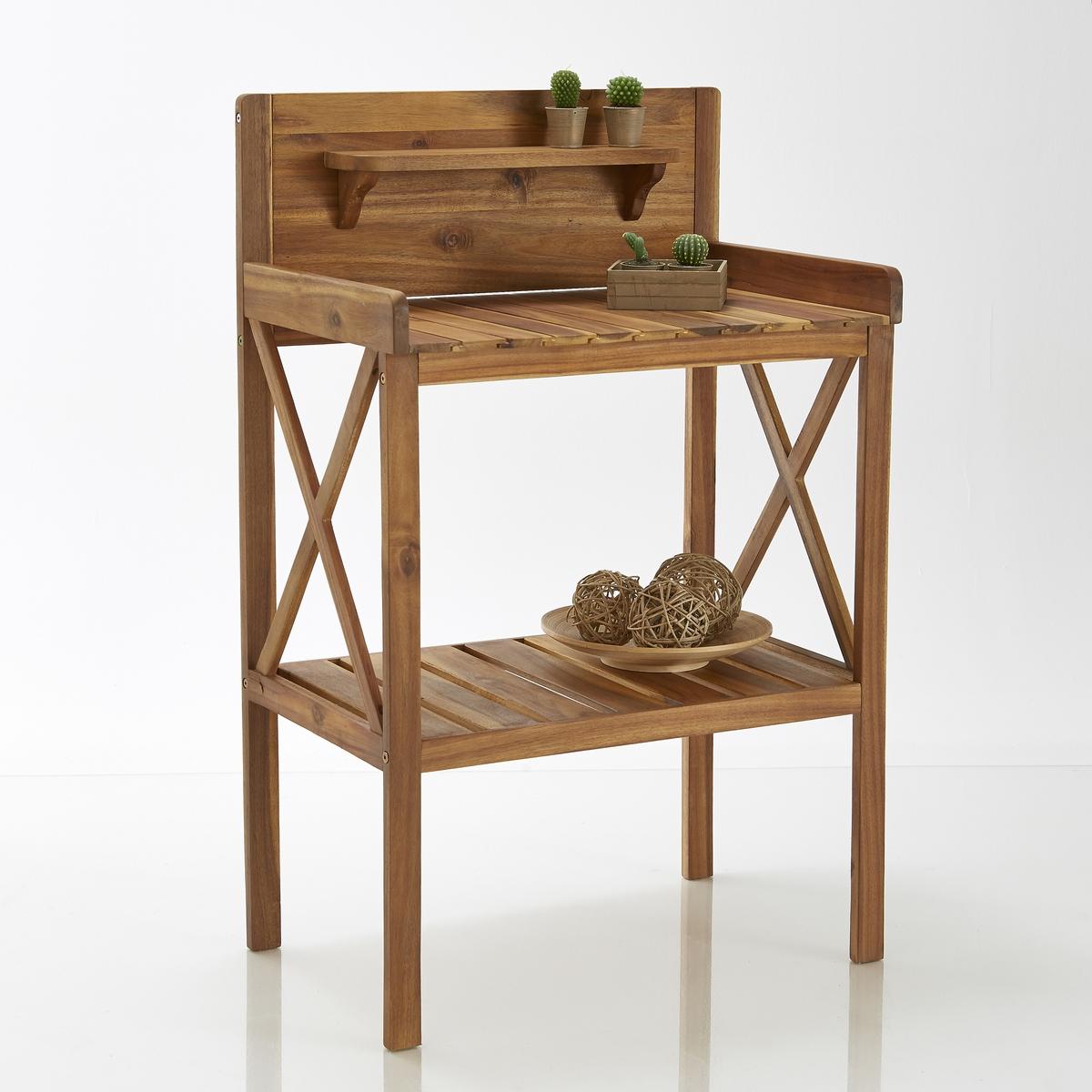 Стол садовый из акации с масляным покрытиемЭтот садовый стол из акации с масляным покрытием позволит удобно разместить на хранение все необходимые вещи для Вашего сада или балкона.Описание садового стола из акации:2 столешницы/этажерки.1 столешница для крепления к стене + 1 небольшая этажерка.Характеристики садового стола из акации:выполнен из акации с масляным покрытием. Размеры садового стола из акации:Длина: 70 см.Высота: 110 см. Глубина: 45 см.Размеры и вес коробки:1 коробкаД. 116 x В. 17,5 x Ш. 52,5 см 14 кгДоставка:Данная модель стола требует самостоятельной сборки. Доставка осуществляется до квартиры!Внимание! Убедитесь в том, что посылку возможно доставить на дом, учитывая ее габариты.<br><br>Цвет: акация
