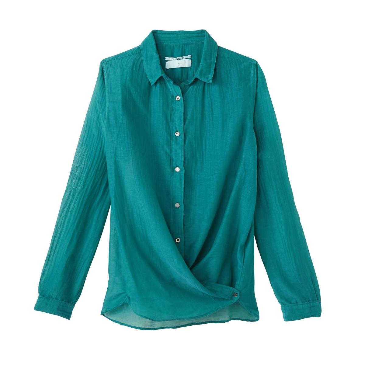 Рубашка из шелка и хлопкаРубашка с длинными рукавами из шелка и хлопка POMANDERE.Детали •  Длинные рукава  •  Приталенный покрой  •   V-образный вырезСостав и уход •  30% шелка, 70% хлопка  •  Следуйте советам по уходу, указанным на этикетке<br><br>Цвет: зеленый