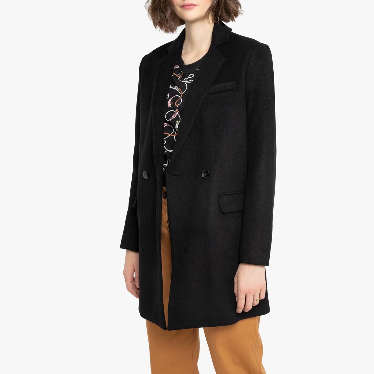 Пальто-плащ La Redoute Из смесового шерстяного драпа 44 (FR) - 50 (RUS) черный