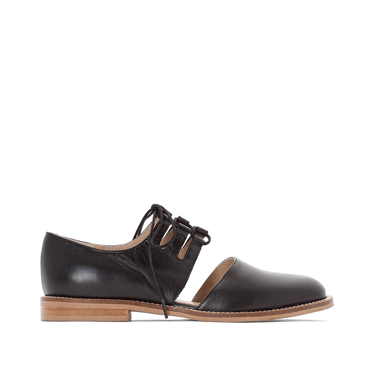 Ботинки-дерби кожаные DaironВерх : кожа   Подкладка : кожа   Стелька : кожа   Подошва : эластомер   Высота каблука : 1 см   Форма каблука : плоский каблук   Мысок : закругленный мысок   Застежка : шнуровка<br><br>Цвет: черный<br>Размер: 41.38.40
