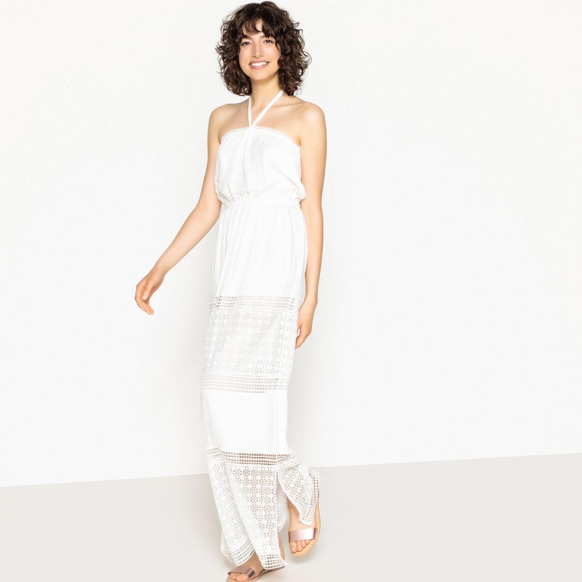Платье-макси с кружевом и бретелями с завязками